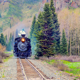 Narrow Gauge Thru The Rockies. by Larry Bodinson - Transportation Trains ( locomotive, train, colorado train, narrow gauge, cumbres toltec )
