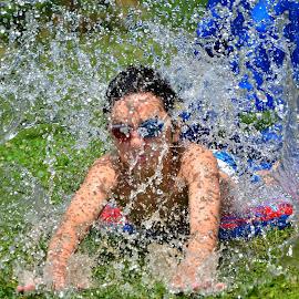 Splash!!! by Nathalie Duhaime - People Portraits of Men ( child, water play, quebec, canada, season, splash, drops, hot, summer, heat, boy, KidsOfSummer )