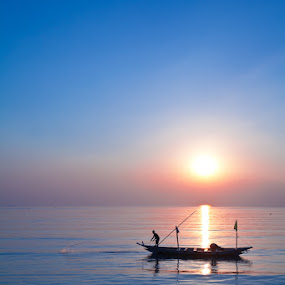 Start working in early morning by Edwin Kosasih - City,  Street & Park  Vistas ( kenjeran, sunrise, fisherman, boat, surabaya )