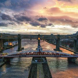 Swing Bridge by Adam Lang - Buildings & Architecture Bridges & Suspended Structures ( river tyne, sunset, gateshead, newcastle, swing bridge )