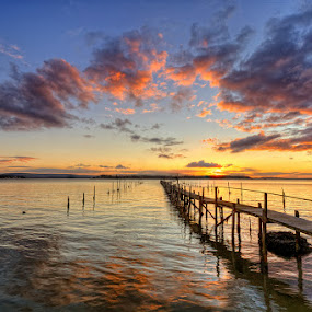 Sunset in Poole by Pawel Tomaszewicz - Landscapes Waterscapes ( europe, reflections, jetty, bournemouth, dri, tranquil, england, sky, kingdom, pier, sandbanks, clouds, water, united, uk, hdr, colors, waterscapes, colours, poole, great, red, blue, sunset, scene, bitain, sunrise, view, dorset, molo )