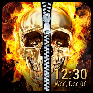Fire Skull Zipper Lock Screen App PC Download / Windows 7.8.10 / MAC