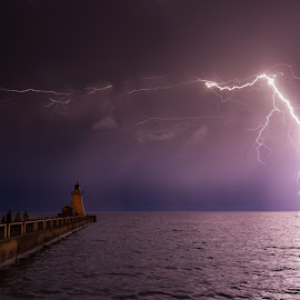 Electrifying by John Anderson - Landscapes Weather ( water, flash, port dover, lightning, bolt, canada, pier, weather, ontario )