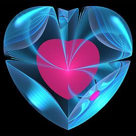 Heart inside heart by Cassy 67 - Illustration Abstract & Patterns ( hearts, blue, digital art, pink, fractal, digital, fractals, soft )