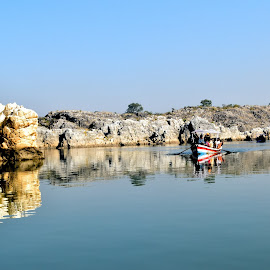 Journey by Ushashi Banerjee - Novices Only Landscapes ( water, reflection, shadow, rock, boat )