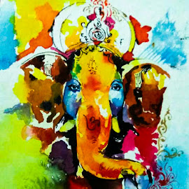 Ganesha by Hrijul Dey - Painting All Painting ( art, hindu, portrait, god, elephant )