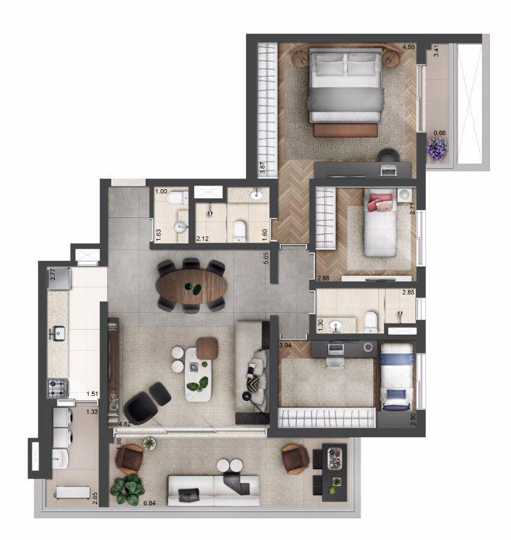 Planta Tipo - 118 m² - 3 dormitórios