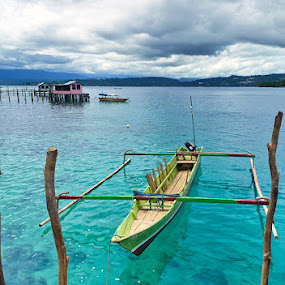 Papua Long Boat by Bastian M - Transportation Boats