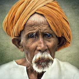 portrait by Raj Padia - People Portraits of Men ( face, person, wise, being, turban, male, fine art, people, portrait, human, aged, emotion, old age, age, old man, elderly, man )