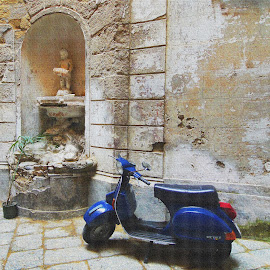 The Old and The New by Joatan Berbel - Buildings & Architecture Decaying & Abandoned ( motorbike, blue, worship, antique, street photography )