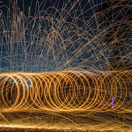 Fire Circle  by Anuruddha Das - Abstract Fire & Fireworks ( steel wool, kolkata, street, india, wool, photography )