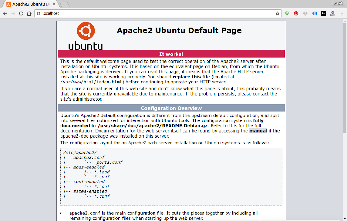 Then open your browser and type sudo systemctl restart apache2 in the address bar