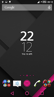 XZ Lollipop Theme PinkOnBlack - screenshot