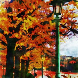 Walk Beneath the Trees by Darin Williams - Digital Art Places ( verona, autumn, trees, walkway, bridge, leaves, lamp post, italy, river )