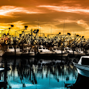 Preparing for the Season by Victoria Evans - Products & Objects Business Objects ( shrimp, sunset, louisiana, gulf of mexico, boat )