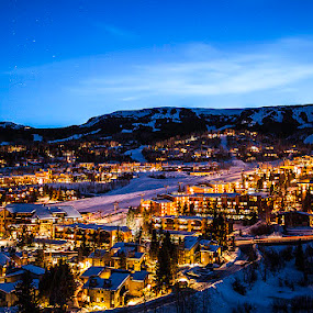 Snowmass Village - Ski Resort  by Tom Cuccio - City,  Street & Park  Skylines ( winter, ski resort, snowmass village, colorado, night, landscape )