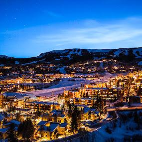 Snowmass Village - Ski Resort  by Tom Cuccio - City,  Street & Park  Skylines ( winter, ski resort, snowmass village, colorado, night, landscape )