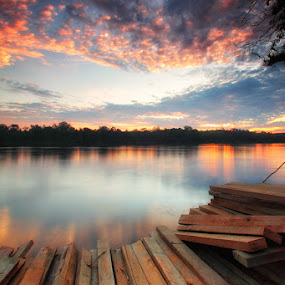 Kapuas River Over Sunset by Kosmas Fikie Aryadi - Landscapes Waterscapes