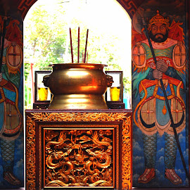 gate keepers by Adjie Tjokrosoedarmo - Buildings & Architecture Places of Worship ( gate keepers, monastery, buddhist, worship, gate )