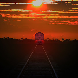Sunset train  by Alex  Wolf - Transportation Trains ( clouds, warm, alex wlf, sunset, wolfproducton.us, train, tracks, landscape, shadows )