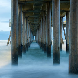 Huntington Pier 3 by Greg Varney - Buildings & Architecture Bridges & Suspended Structures ( san diego, shadow, waves, pier, huntington beach )