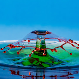 Cover by Steve Kazemir - Abstract Water Drops & Splashes ( drop, red, macro, green, double, timing, water, splash )