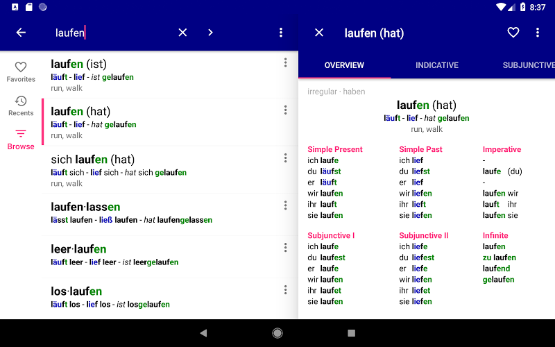 German Verbs Pro: conjugation translation grammar Screenshot 14