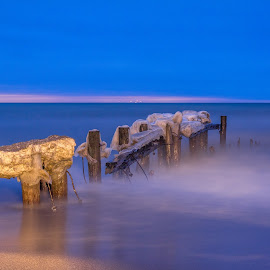 Early Morning Pier by Matthew Tiegs - Landscapes Beaches ( wavy, winter, icy, light painting, pier, lake, sunrise )