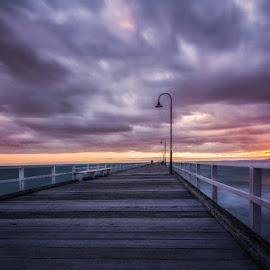 Just a pier and sunset by Zubair Aslam - Buildings & Architecture Other Exteriors ( clouds, zubair, port melbourne, piers, night photography, melbourne in night, melbourne, sunset, zubair photography, pier, long exposure, drama, zubairphotography,  )