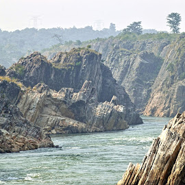 Bhedaghat Jabalpur by Krishna Maurya - Nature Up Close Rock & Stone ( nature art, waterfalls, falls, rocky mountains, valley )