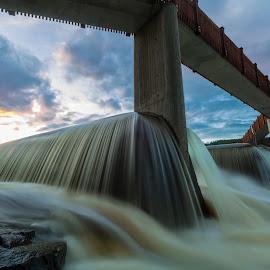 Saggrenda dam by Geir Christensen - Landscapes Waterscapes ( dam, longexposure, sunset, long exposure, bridge, river, water )