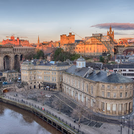 Newcastle's Quayside by Adam Lang - City,  Street & Park  Historic Districts ( skyline, river tyne, quayside, streets, newcastle, bridge )
