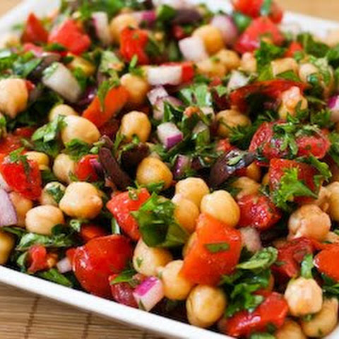 Chickpea (Garbanzo Bean) Salad Recipe with Tomatoes, Olives, Basil, and Parsley