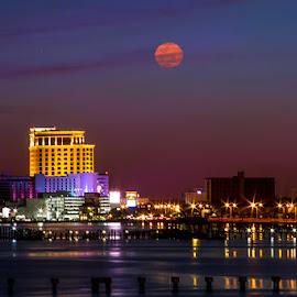 Mystic Moon by Jeannie Meyer - City,  Street & Park  Skylines ( point cadet, moon, sailboat,  )