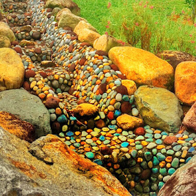 Multicolored stones by Wan Loy Yeong - City,  Street & Park  Vistas ( rock formations, park, stones, drain, rocks, singapore, multicolored,  )