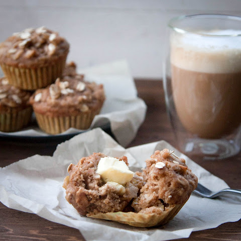Healthy Double Apple Oatmeal Muffins