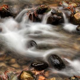 Waterfall at creek at Lake Chelan State Park by Kathy Dee - Instagram & Mobile iPhone ( orange, autumn, colors, foliage, fall, creek, waterfall, gold, leaves, lake chelan, motion blur )
