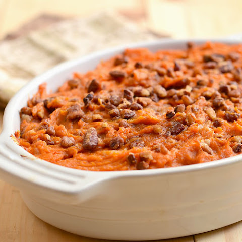 Sweet Potato Casserole with Rum and Candied Pecans