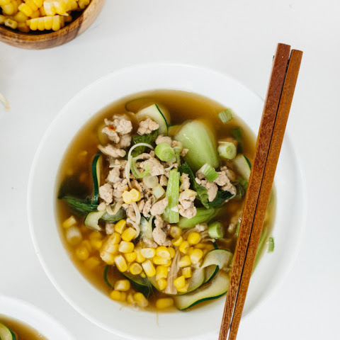 Spicy Ginger Pork Soup with Flat Zucchini Noodles