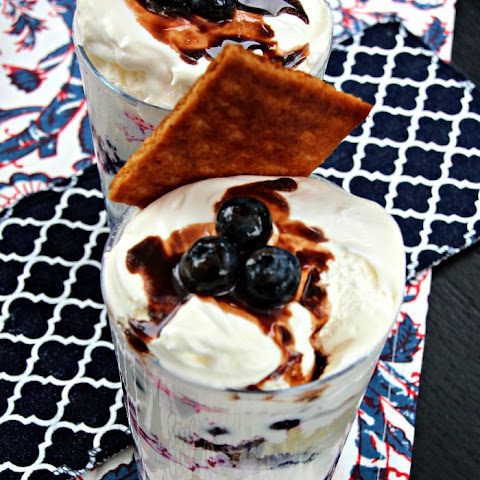 Blueberry Shortcake with a S'mores Drizzle and Topped with Cool Whip