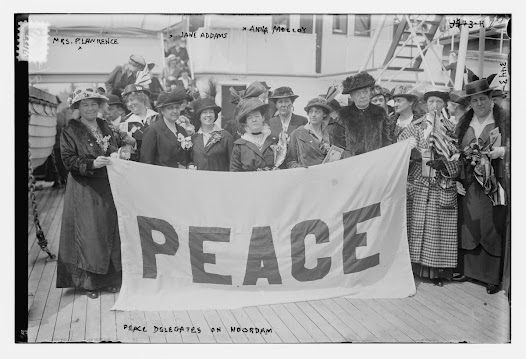 As war loomed in Europe, women reformers engaged in the peace movement. In 1915, activists Jane Addams, Carrie Chapman Catt, and others joined a delegation to the International Congress of Women for a Permanent Peace.