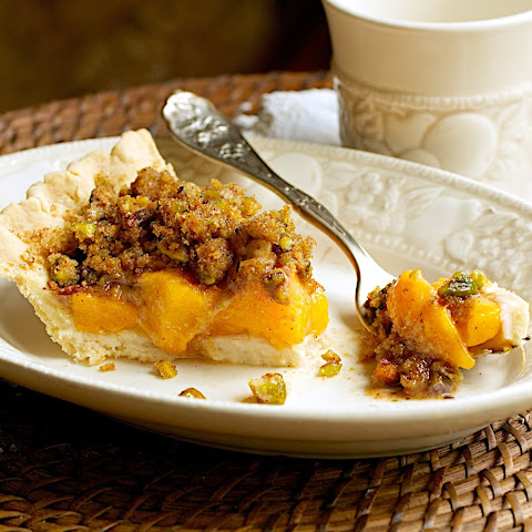 Fresh Peach Pie with Pistachio Streusel Topping
