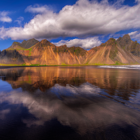Vestrahorn by Rune Askeland - Landscapes Waterscapes ( sand, iceland, mountain, vestrahorn, reflections, beach )
