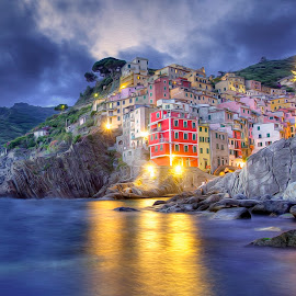Dreaming of Cinque Terre by Peter Kennett - Digital Art Places ( pastels, houses, cinque terre, painted, hdr, village, sunset, riomaggiore, sea, fishing, italy )