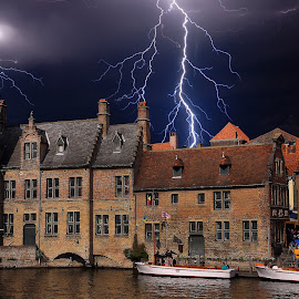 Storm in Brugges by Gérard CHATENET - City,  Street & Park  Street Scenes