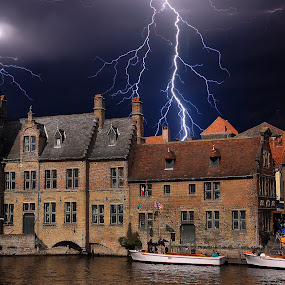 Storm in Brugges by Gérard CHATENET - City,  Street & Park  Street Scenes (  )