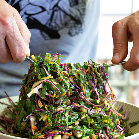 The Perfect Picnic Salad - Shredded Chard and Cabbage Salad with Green Goddess Dressing