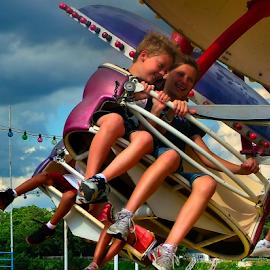 The Paratrooper Ride by Julie Dant - Babies & Children Children Candids ( paratrooper ride, summer, summer fun, fair rides, siblings, county fairs, KidsOfSummer )