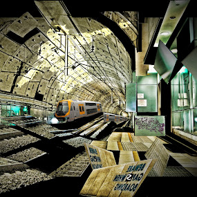 Beware of gaps when boarding the train by Adam Scarf - Digital Art Abstract ( abstract, futuristic, photoshop )