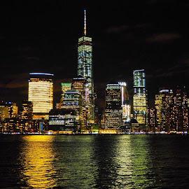 Dream City by Katarina Farelius - City,  Street & Park  Skylines ( #newyork #manhattanskyline #bigapple #jerseycity #hudsonriverbynight )
